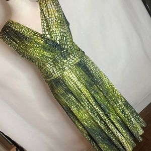 Jones New York Green Patterned Dress